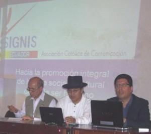 Pedro Sánchez (OCLACC), Germán Flores (MIES Imbabura), Camilo Ponce (Colegio Periuodistas Imbabrua)